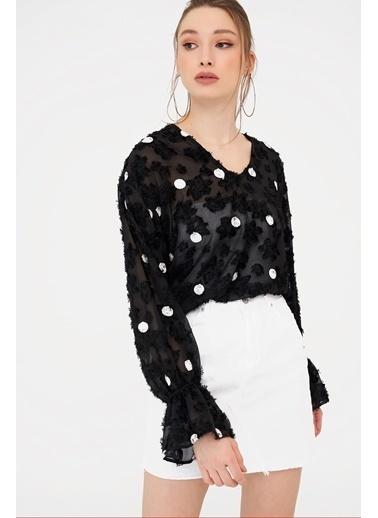 ESQ V Yaka Puantiyeli Transparan Bluz Siyah
